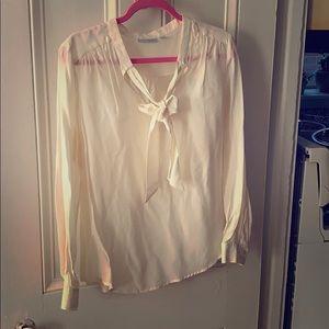Off white Halogen silk tie-front blouse